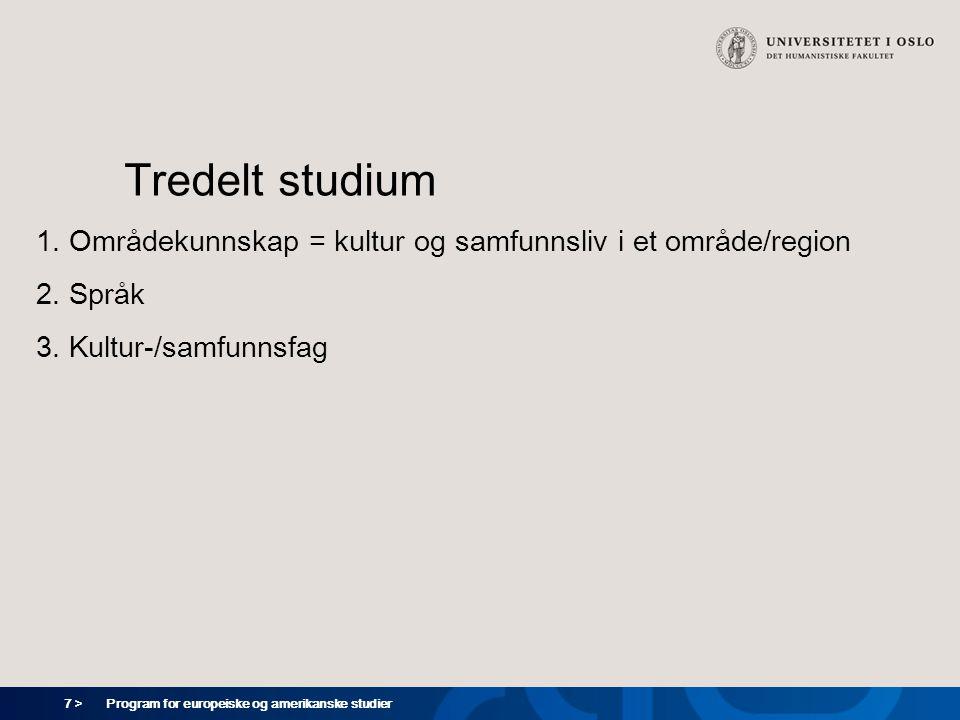 7 > Program for europeiske og amerikanske studier Tredelt studium 1. Områdekunnskap = kultur og samfunnsliv i et område/region 2. Språk 3. Kultur-/sam