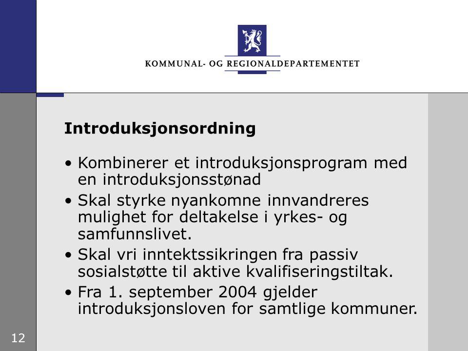 12 Kombinerer et introduksjonsprogram med en introduksjonsstønad Skal styrke nyankomne innvandreres mulighet for deltakelse i yrkes- og samfunnslivet.