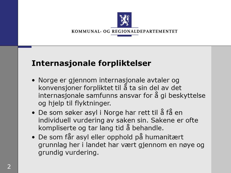 2 Norge er gjennom internasjonale avtaler og konvensjoner forpliktet til å ta sin del av det internasjonale samfunns ansvar for å gi beskyttelse og hjelp til flyktninger.