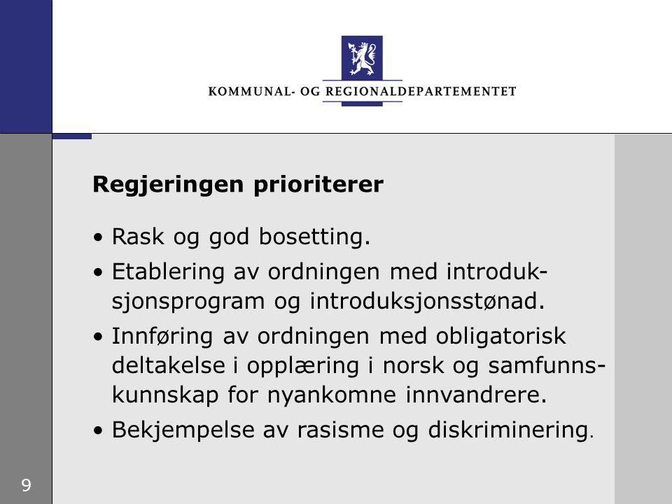 9 Rask og god bosetting. Etablering av ordningen med introduk- sjonsprogram og introduksjonsstønad.