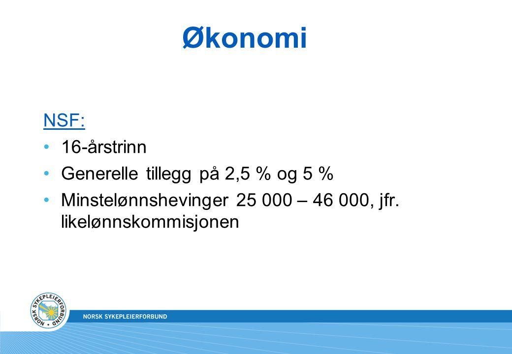 Økonomi NSF: 16-årstrinn Generelle tillegg på 2,5 % og 5 % Minstelønnshevinger 25 000 – 46 000, jfr. likelønnskommisjonen