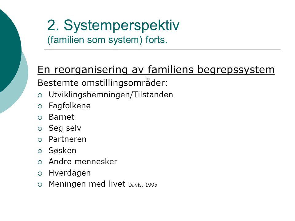 2.Systemperspektiv (familien som system) forts.