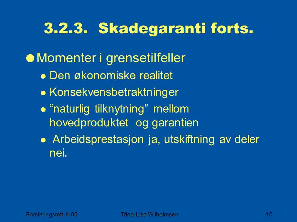 """Forsikringsrett, h-05Trine-Lise Wilhelmsen10 3.2.3. Skadegaranti forts.  Momenter i grensetilfeller Den økonomiske realitet Konsekvensbetraktninger """""""