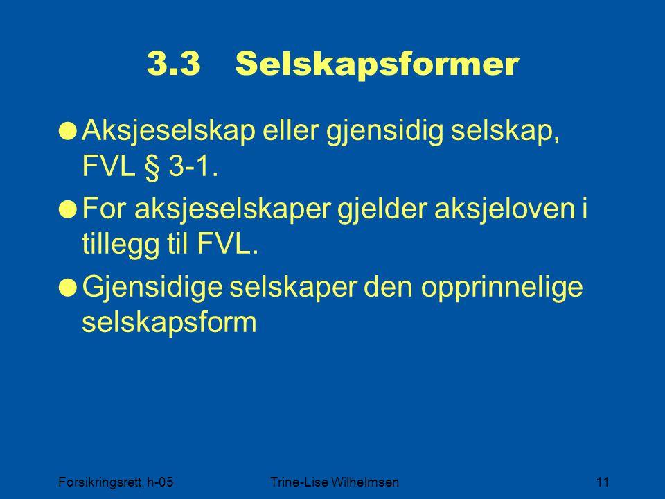 Forsikringsrett, h-05Trine-Lise Wilhelmsen11 3.3 Selskapsformer  Aksjeselskap eller gjensidig selskap, FVL § 3-1.  For aksjeselskaper gjelder aksjel