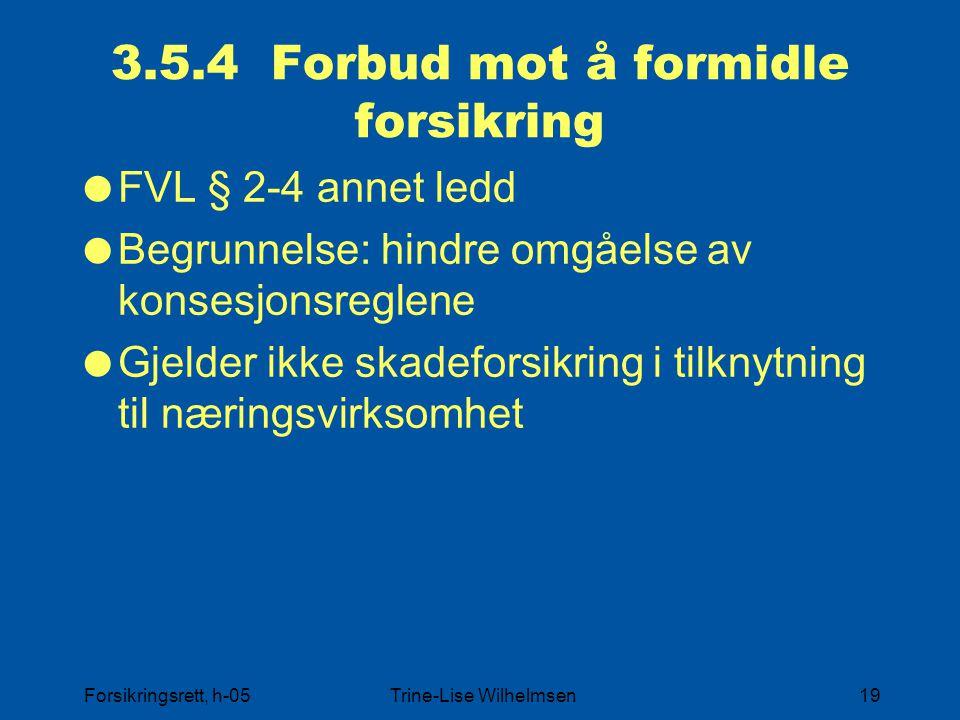 Forsikringsrett, h-05Trine-Lise Wilhelmsen19 3.5.4 Forbud mot å formidle forsikring  FVL § 2-4 annet ledd  Begrunnelse: hindre omgåelse av konsesjon