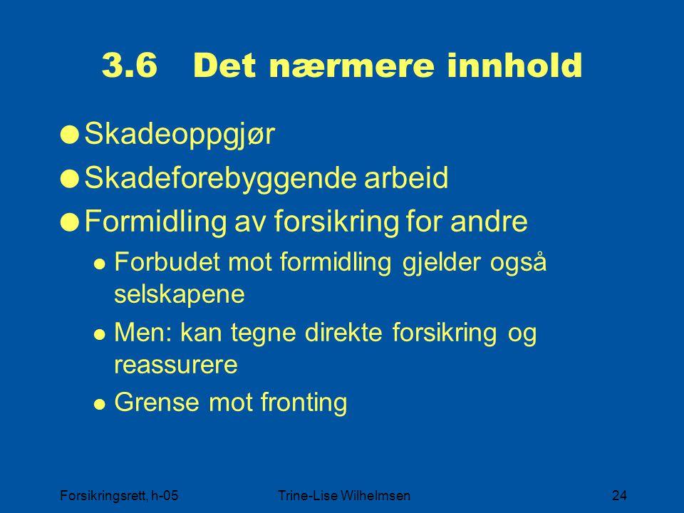 Forsikringsrett, h-05Trine-Lise Wilhelmsen24 3.6 Det nærmere innhold  Skadeoppgjør  Skadeforebyggende arbeid  Formidling av forsikring for andre Fo