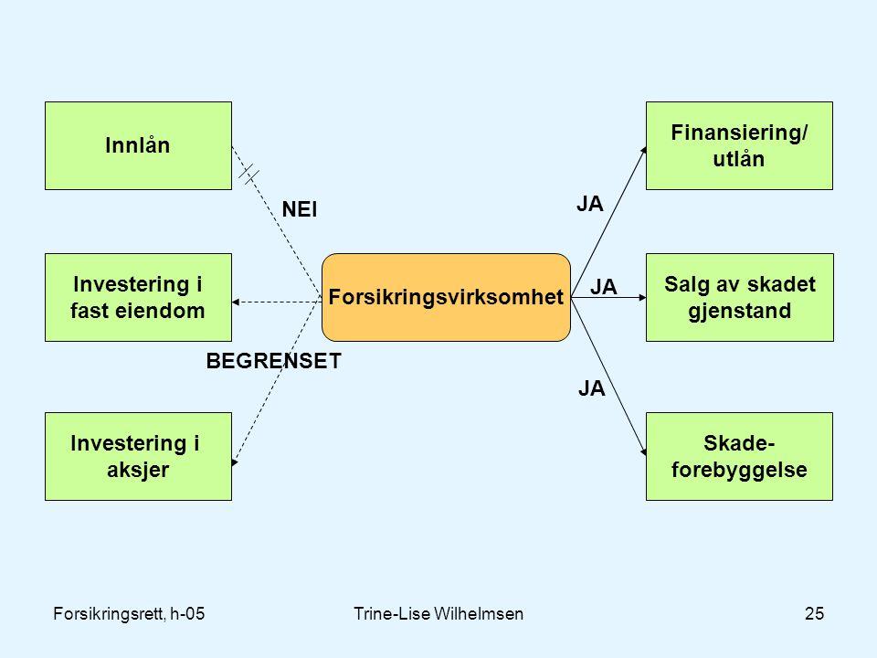 Forsikringsrett, h-05Trine-Lise Wilhelmsen25 Forsikringsvirksomhet Innlån Investering i fast eiendom Investering i aksjer Finansiering/ utlån Salg av