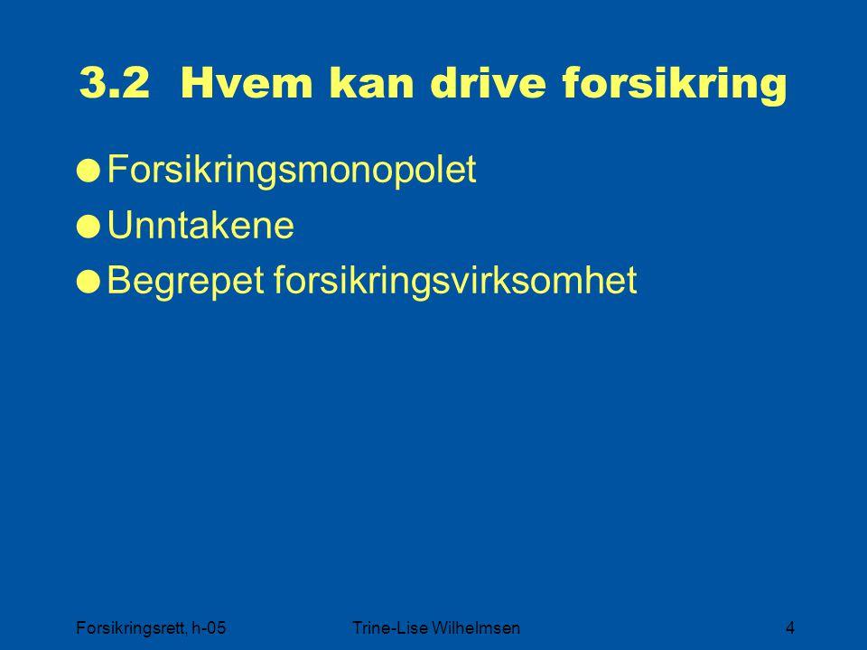 Forsikringsrett, h-05Trine-Lise Wilhelmsen4 3.2 Hvem kan drive forsikring  Forsikringsmonopolet  Unntakene  Begrepet forsikringsvirksomhet
