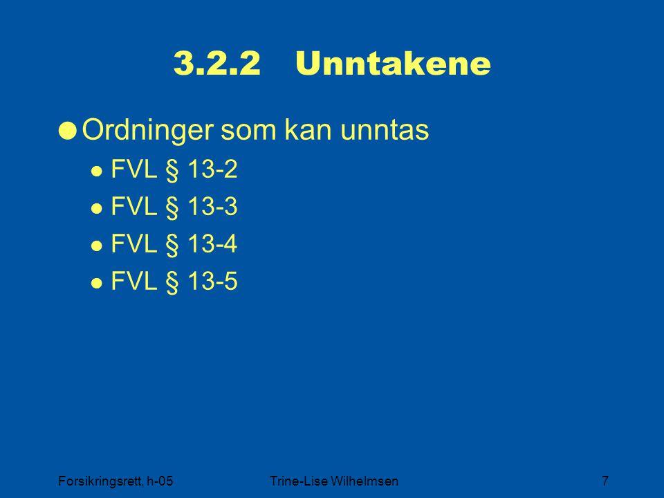 Forsikringsrett, h-05Trine-Lise Wilhelmsen7 3.2.2 Unntakene  Ordninger som kan unntas FVL § 13-2 FVL § 13-3 FVL § 13-4 FVL § 13-5