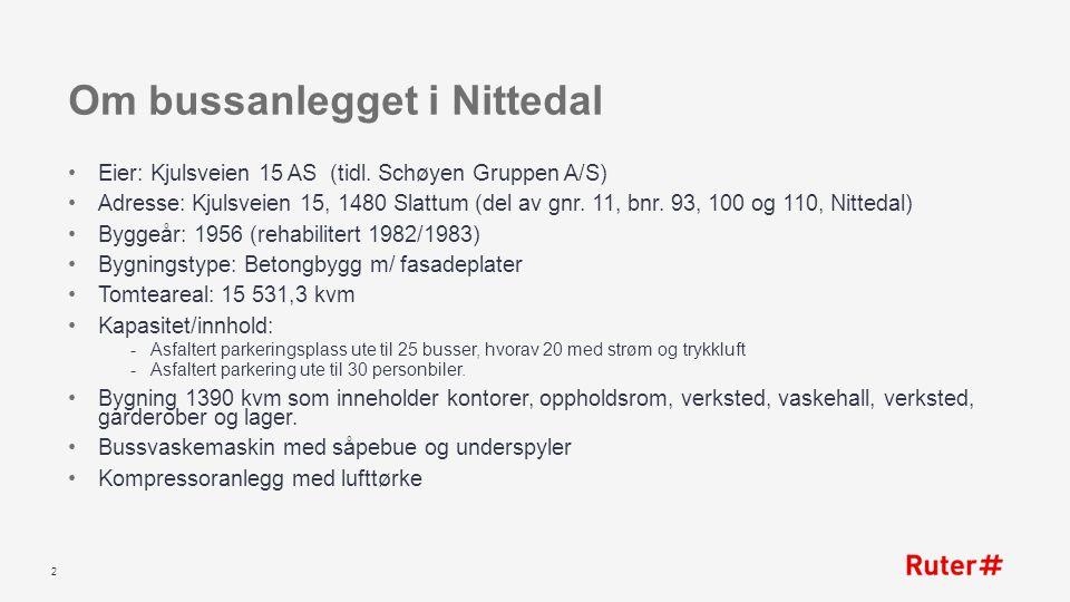 Om bussanlegget i Nittedal Eier: Kjulsveien 15 AS (tidl. Schøyen Gruppen A/S) Adresse: Kjulsveien 15, 1480 Slattum (del av gnr. 11, bnr. 93, 100 og 11