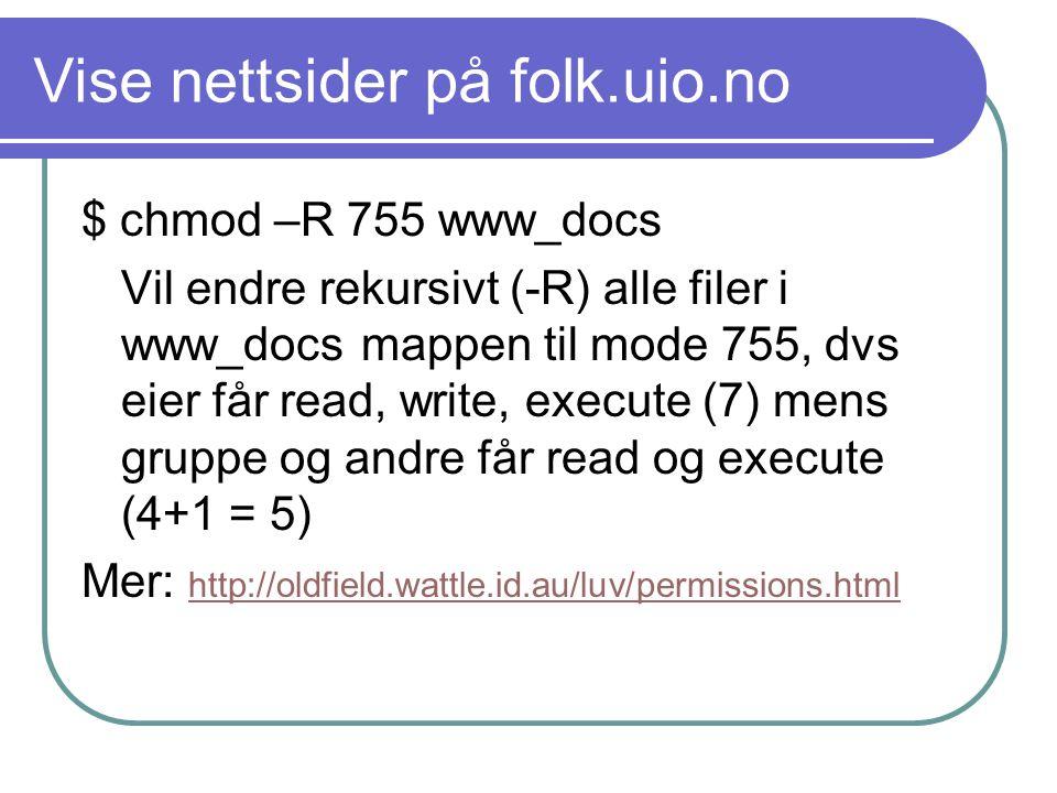 Hjemmeside Lagres på hjemmeområdet (M:) Mappen www_docs Vises på http://folk.uio.no/