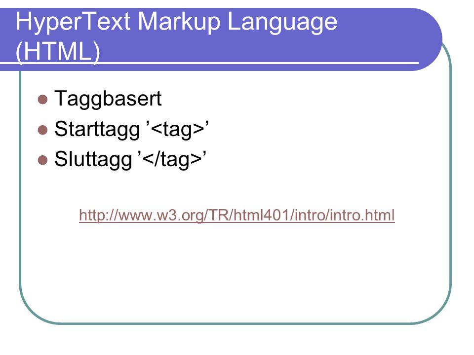 Cascading Style Sheets (CSS) Brukes til å styre visningen av hjemmesider Defineres i blokker { color: #ffffff; margin: 1em; } Bindingsmetoder Tag p { … } ID #tekst { … } Class.txt { … }