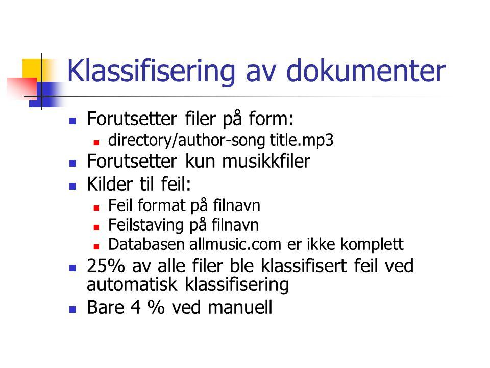 Klassifisering av dokumenter Forutsetter filer på form: directory/author-song title.mp3 Forutsetter kun musikkfiler Kilder til feil: Feil format på filnavn Feilstaving på filnavn Databasen allmusic.com er ikke komplett 25% av alle filer ble klassifisert feil ved automatisk klassifisering Bare 4 % ved manuell