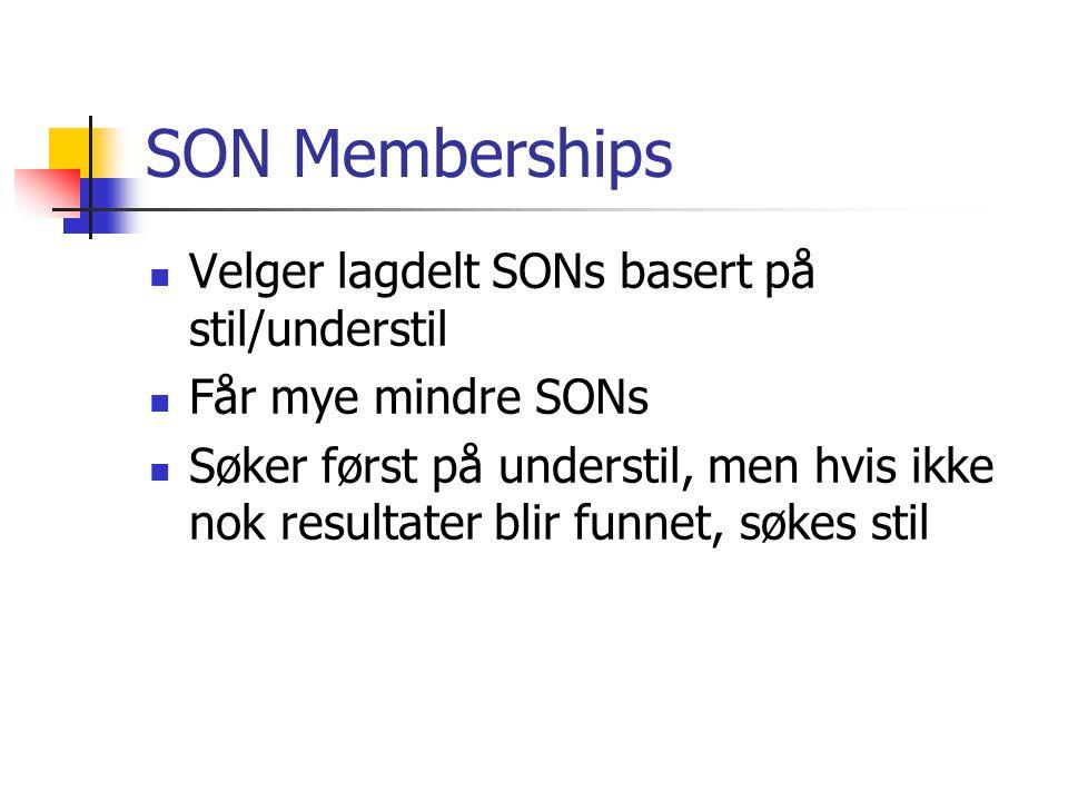 SON Memberships Velger lagdelt SONs basert på stil/understil Får mye mindre SONs Søker først på understil, men hvis ikke nok resultater blir funnet, søkes stil