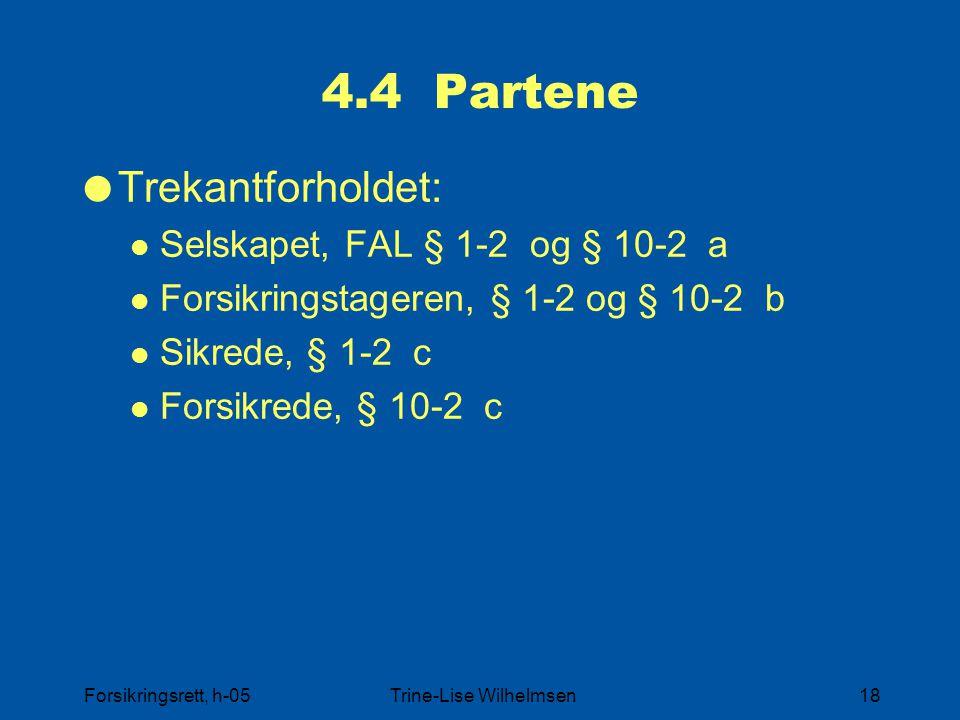 Forsikringsrett, h-05Trine-Lise Wilhelmsen18 4.4 Partene  Trekantforholdet: Selskapet, FAL § 1-2 og § 10-2 a Forsikringstageren, § 1-2 og § 10-2 b Si