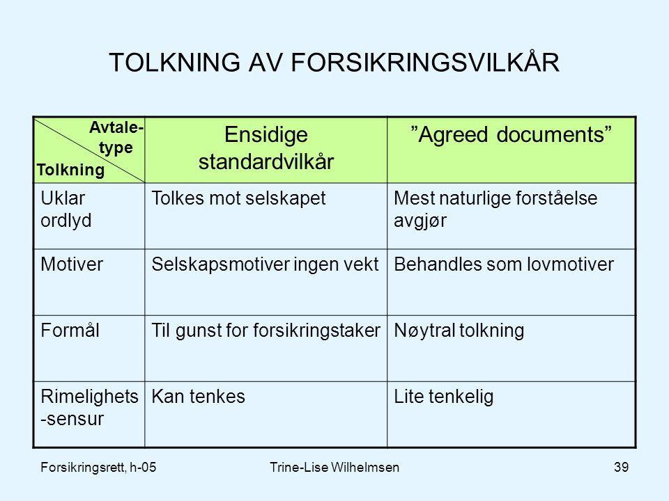 """Forsikringsrett, h-05Trine-Lise Wilhelmsen39 TOLKNING AV FORSIKRINGSVILKÅR Ensidige standardvilkår """"Agreed documents"""" Uklar ordlyd Tolkes mot selskape"""