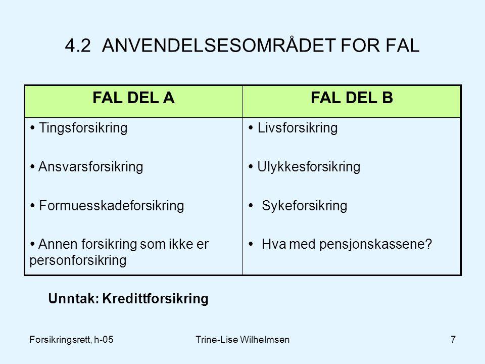 Forsikringsrett, h-05Trine-Lise Wilhelmsen7 4.2 ANVENDELSESOMRÅDET FOR FAL  Livsforsikring  Ulykkesforsikring  Sykeforsikring  Hva med pensjonskassene.