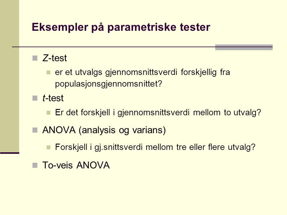 Eksempler på parametriske tester Z-test er et utvalgs gjennomsnittsverdi forskjellig fra populasjonsgjennomsnittet.