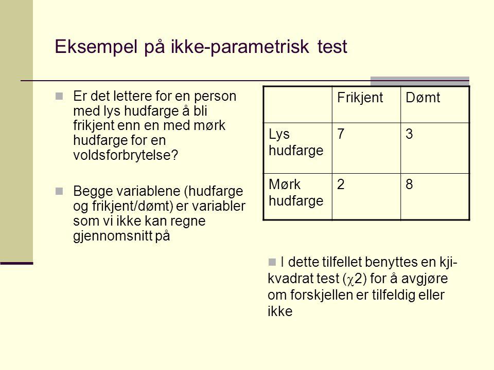 Eksempel på ikke-parametrisk test Er det lettere for en person med lys hudfarge å bli frikjent enn en med mørk hudfarge for en voldsforbrytelse.