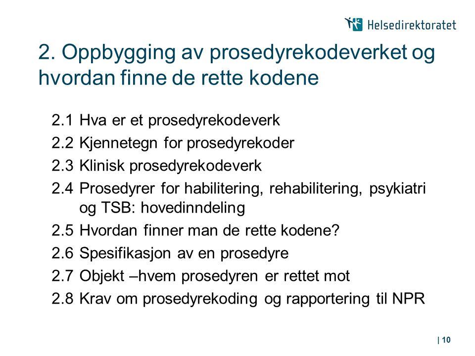 2. Oppbygging av prosedyrekodeverket og hvordan finne de rette kodene 2.1Hva er et prosedyrekodeverk 2.2Kjennetegn for prosedyrekoder 2.3Klinisk prose
