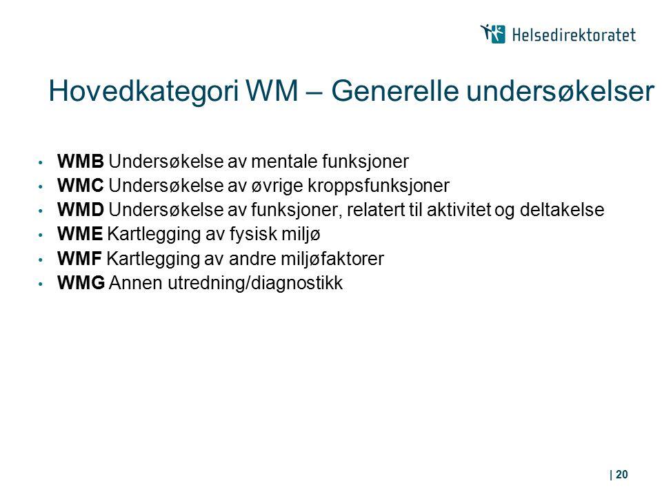 Hovedkategori WM – Generelle undersøkelser WMB Undersøkelse av mentale funksjoner WMC Undersøkelse av øvrige kroppsfunksjoner WMD Undersøkelse av funk