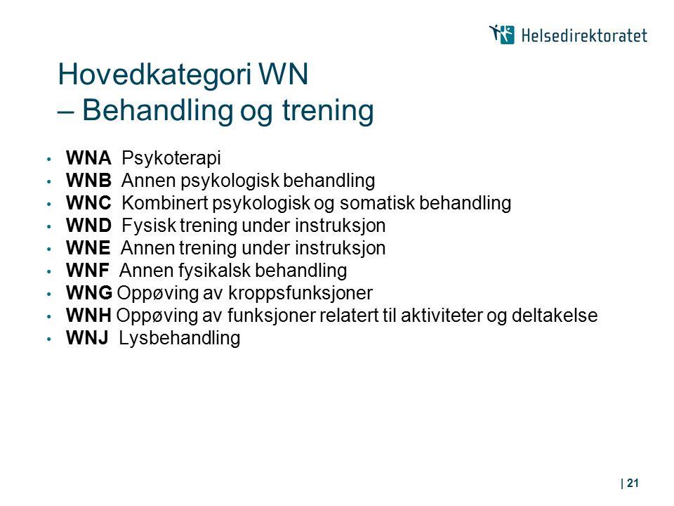 WNA Psykoterapi WNB Annen psykologisk behandling WNC Kombinert psykologisk og somatisk behandling WND Fysisk trening under instruksjon WNE Annen treni