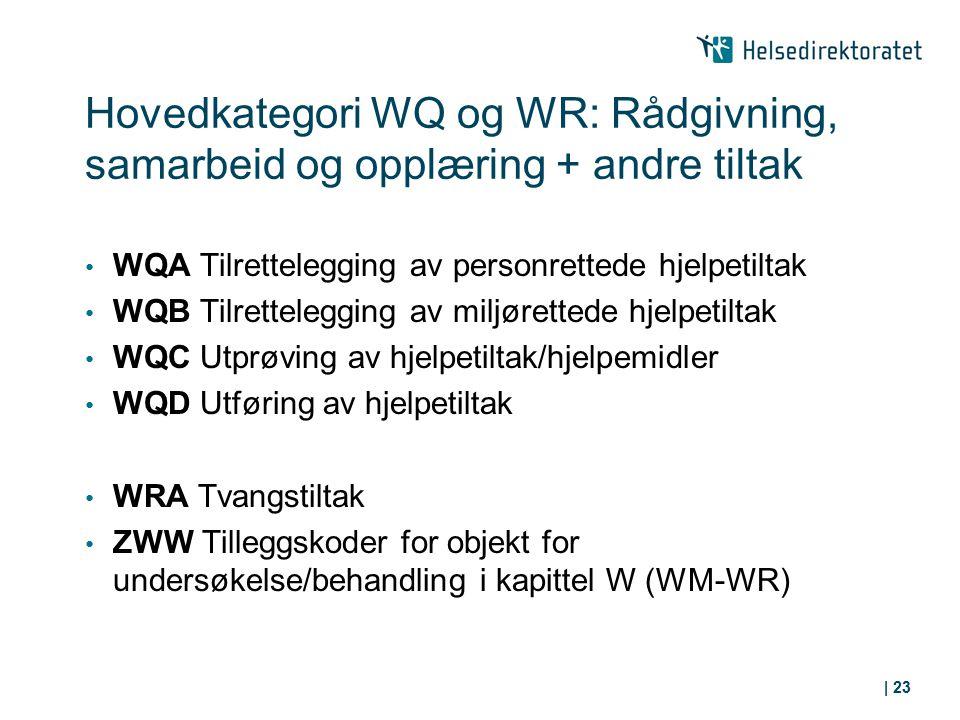 Hovedkategori WQ og WR: Rådgivning, samarbeid og opplæring + andre tiltak WQA Tilrettelegging av personrettede hjelpetiltak WQB Tilrettelegging av mil