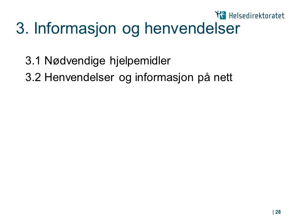 3. Informasjon og henvendelser 3.1 Nødvendige hjelpemidler 3.2 Henvendelser og informasjon på nett | 28