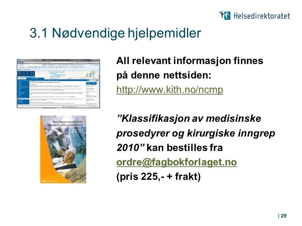 """3.1 Nødvendige hjelpemidler All relevant informasjon finnes på denne nettsiden: http://www.kith.no/ncmp """"Klassifikasjon av medisinske prosedyrer og ki"""