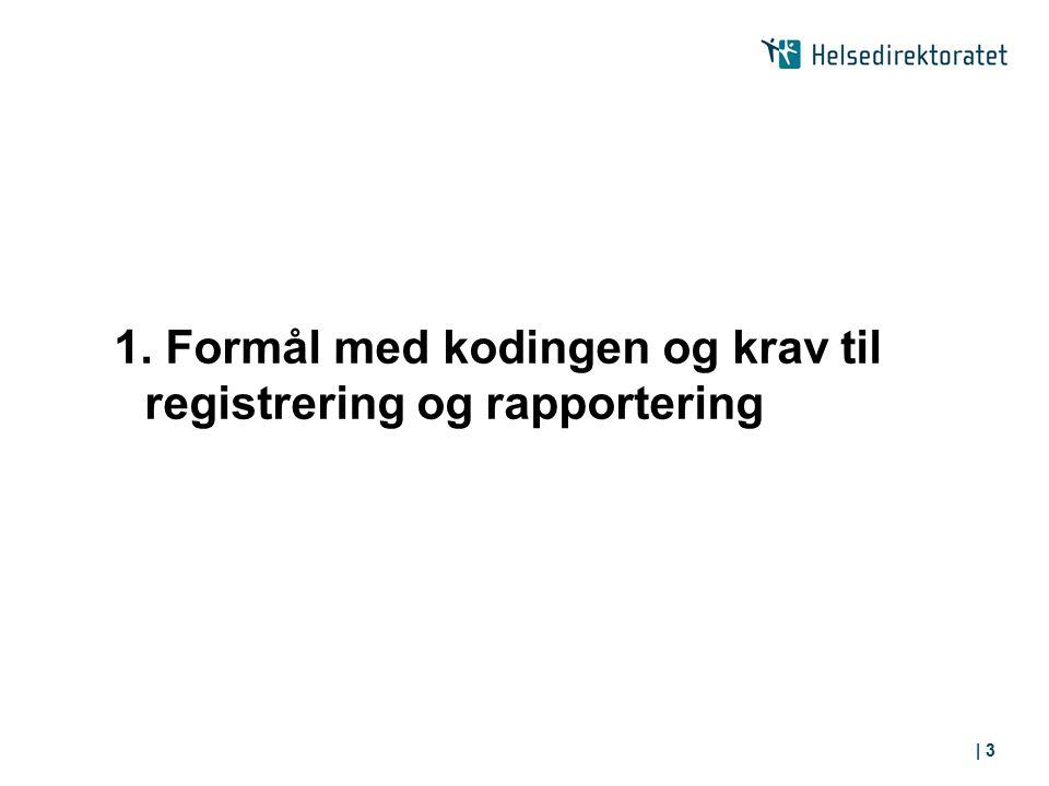 1. Formål med kodingen og krav til registrering og rapportering | 3