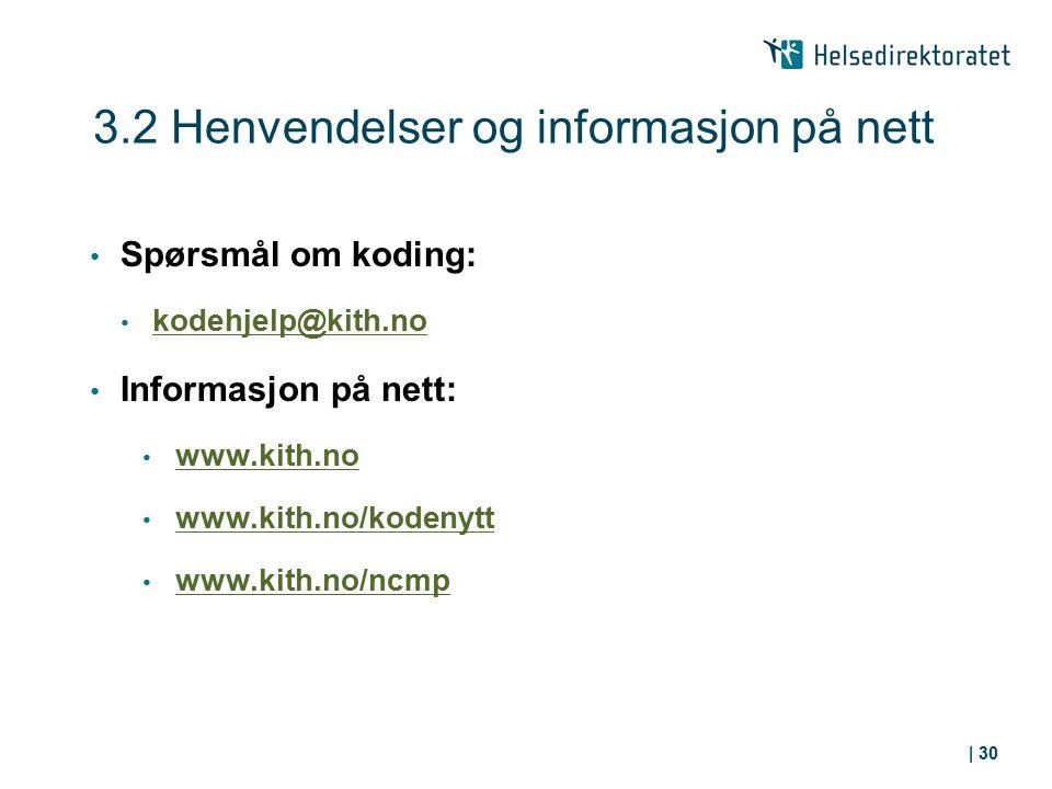 3.2 Henvendelser og informasjon på nett Spørsmål om koding: kodehjelp@kith.no Informasjon på nett: www.kith.no www.kith.no/kodenytt www.kith.no/ncmp |