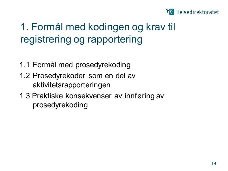 1. Formål med kodingen og krav til registrering og rapportering 1.1Formål med prosedyrekoding 1.2Prosedyrekoder som en del av aktivitetsrapporteringen