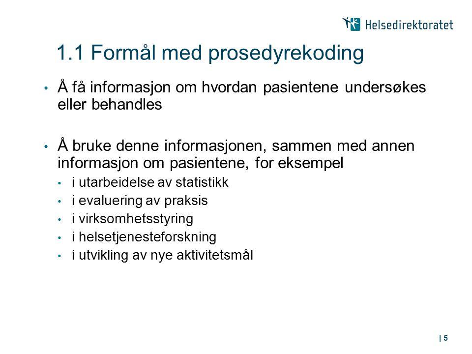 1.1 Formål med prosedyrekoding Å få informasjon om hvordan pasientene undersøkes eller behandles Å bruke denne informasjonen, sammen med annen informa