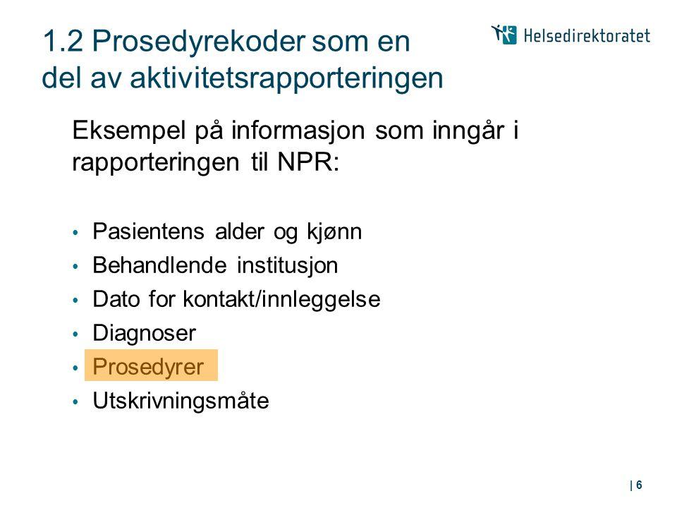 Eksempel på informasjon som inngår i rapporteringen til NPR: Pasientens alder og kjønn Behandlende institusjon Dato for kontakt/innleggelse Diagnoser