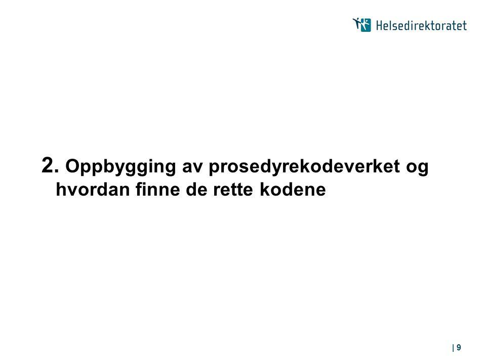 2. Oppbygging av prosedyrekodeverket og hvordan finne de rette kodene | 9