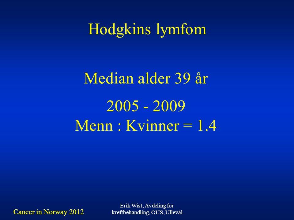 Erik Wist, Avdeling for kreftbehandling, OUS, Ullevål Hodgkins lymfom 2005 - 2009 Menn : Kvinner = 1.4 Median alder 39 år Cancer in Norway 2012