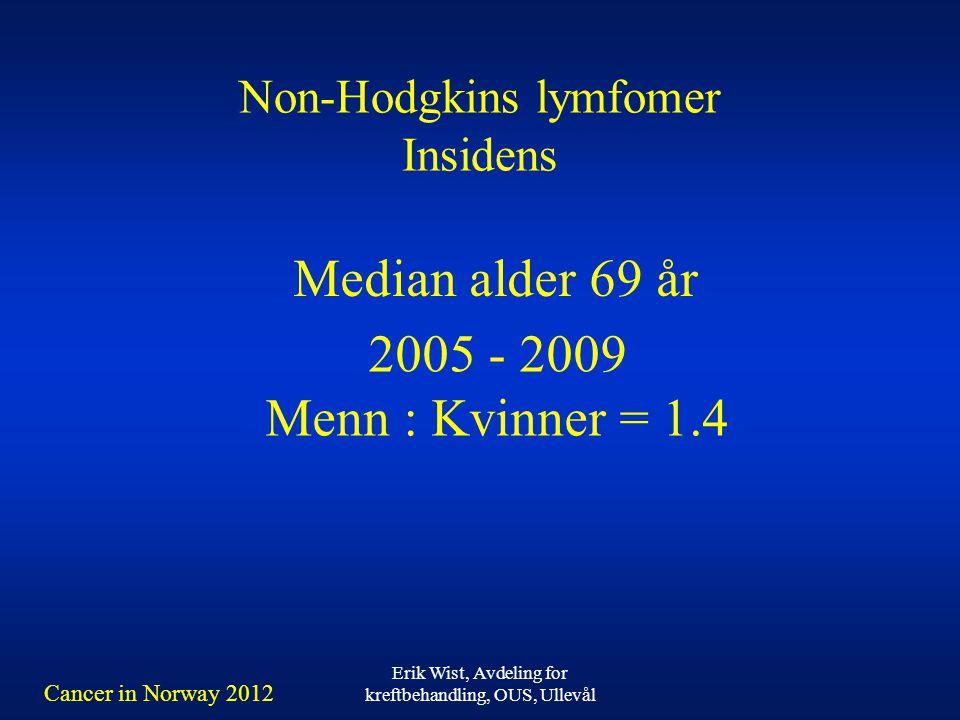 Erik Wist, Avdeling for kreftbehandling, OUS, Ullevål Non-Hodgkins lymfomer Insidens 2005 - 2009 Menn : Kvinner = 1.4 Median alder 69 år Cancer in Norway 2012