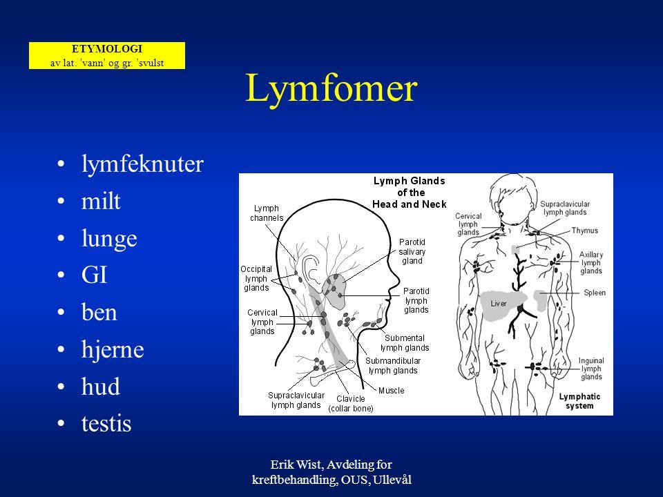 Erik Wist, Avdeling for kreftbehandling, OUS, Ullevål Lymfomer lymfeknuter milt lunge GI ben hjerne hud testis ETYMOLOGI av lat.