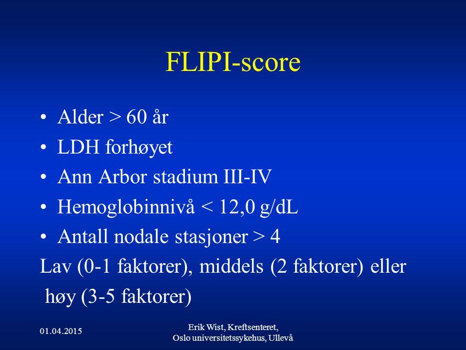 FLIPI-score Alder > 60 år LDH forhøyet Ann Arbor stadium III-IV Hemoglobinnivå < 12,0 g/dL Antall nodale stasjoner > 4 Lav (0-1 faktorer), middels (2 faktorer) eller høy (3-5 faktorer) 01.04.2015 Erik Wist, Kreftsenteret, Oslo universitetssykehus, Ullevå