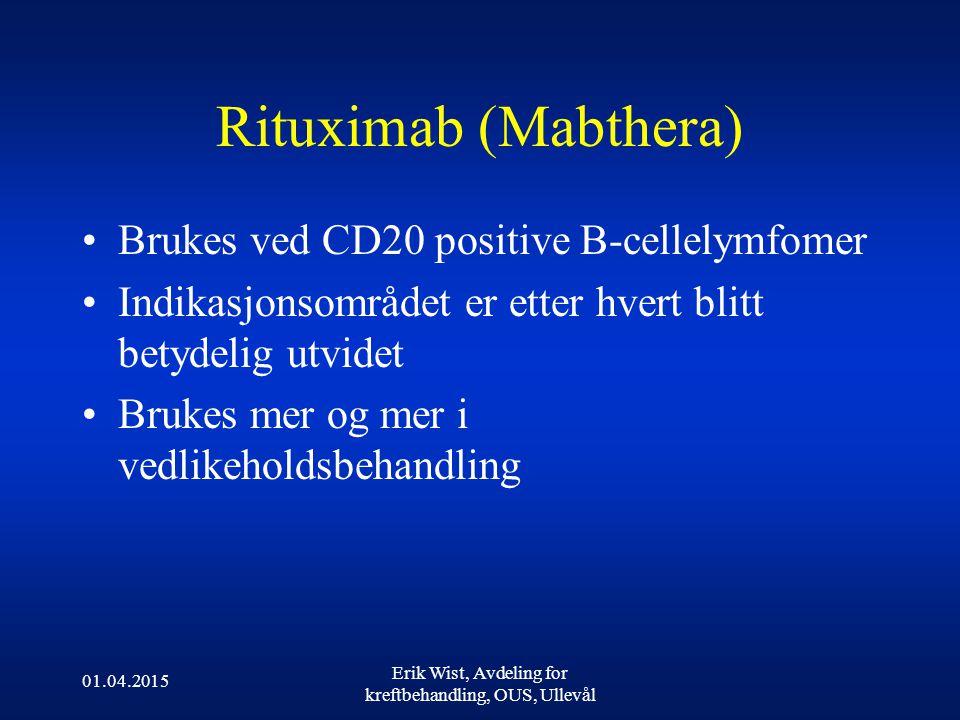 01.04.2015 Erik Wist, Avdeling for kreftbehandling, OUS, Ullevål Rituximab (Mabthera) Brukes ved CD20 positive B-cellelymfomer Indikasjonsområdet er etter hvert blitt betydelig utvidet Brukes mer og mer i vedlikeholdsbehandling