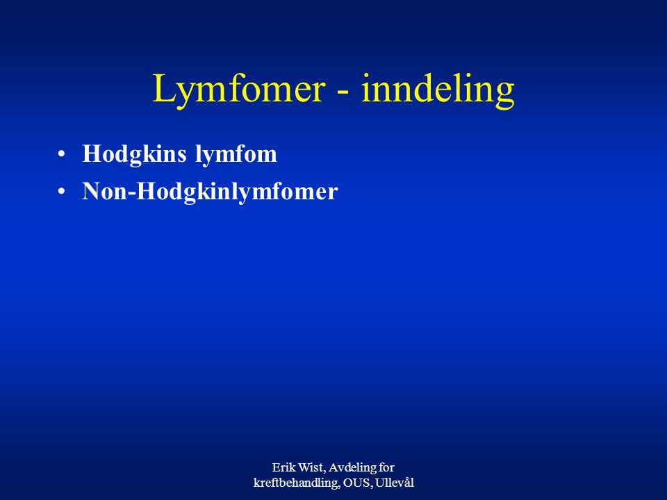 Erik Wist, Avdeling for kreftbehandling, OUS, Ullevål Lymfomer - inndeling Hodgkins lymfom Non-Hodgkinlymfomer