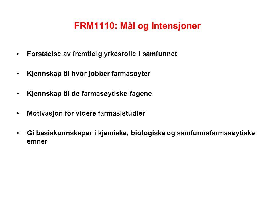 FRM1110: Mål og Intensjoner Forståelse av fremtidig yrkesrolle i samfunnet Kjennskap til hvor jobber farmasøyter Kjennskap til de farmasøytiske fagene Motivasjon for videre farmasistudier Gi basiskunnskaper i kjemiske, biologiske og samfunnsfarmasøytiske emner