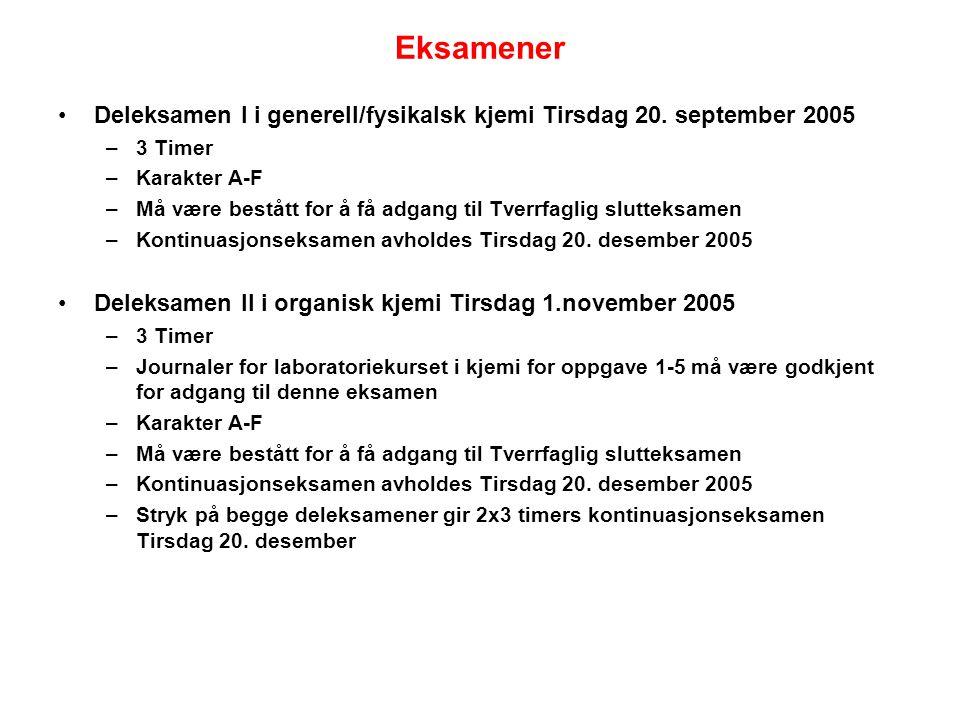 Eksamener Deleksamen I i generell/fysikalsk kjemi Tirsdag 20.