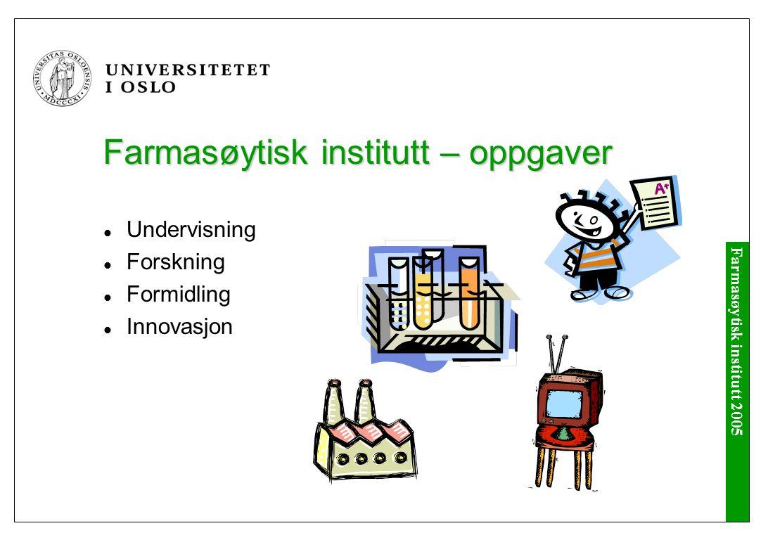 Farmasøytisk institutt 2005 Farmasøytisk institutt - personale Professor, 17 Professor II, 7 Førsteamanuensis, 13 Andre vitenskapelige, 8 Stipendiat, 30 Teknisk personale, 18 Administrativt personale, 16