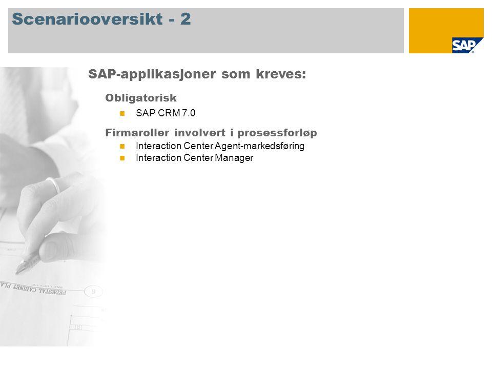 Scenariooversikt - 2 Obligatorisk SAP CRM 7.0 Firmaroller involvert i prosessforløp Interaction Center Agent-markedsføring Interaction Center Manager SAP-applikasjoner som kreves: