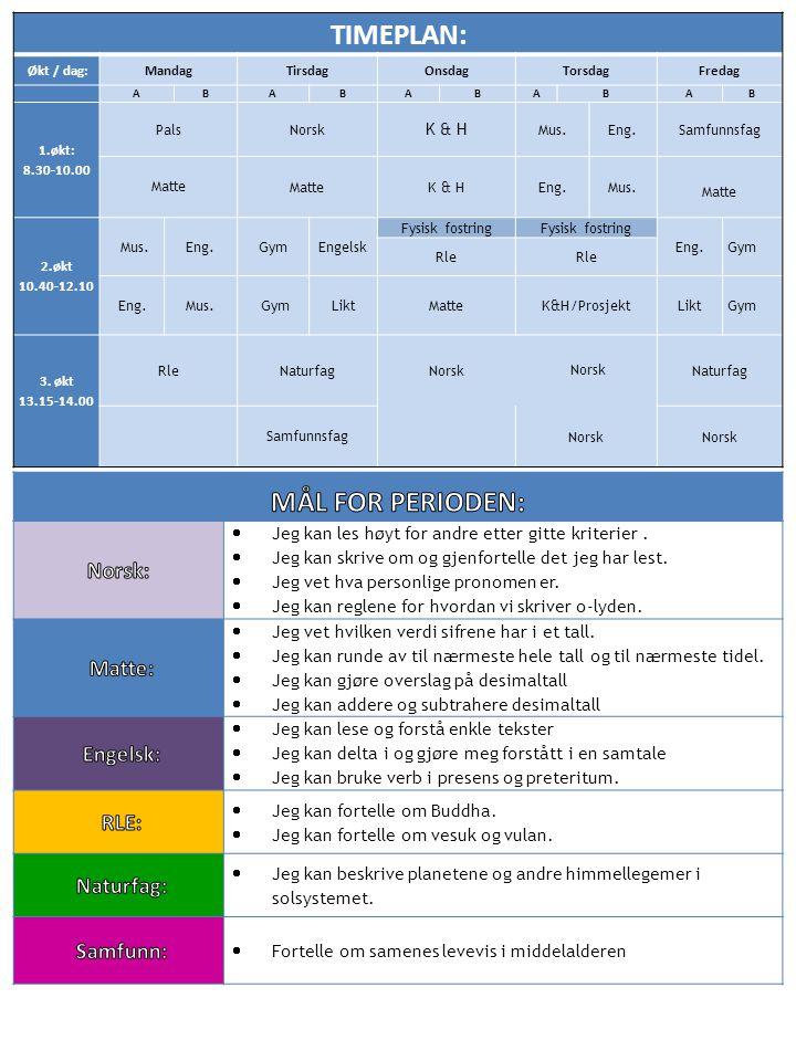 TIMEPLAN: Økt / dag:MandagTirsdagOnsdagTorsdagFredag ABABABABAB 1.økt: 8.30-10.00 Pals Norsk K & H Mus.Eng.Samfunnsfag Matte Matte K & HEng.