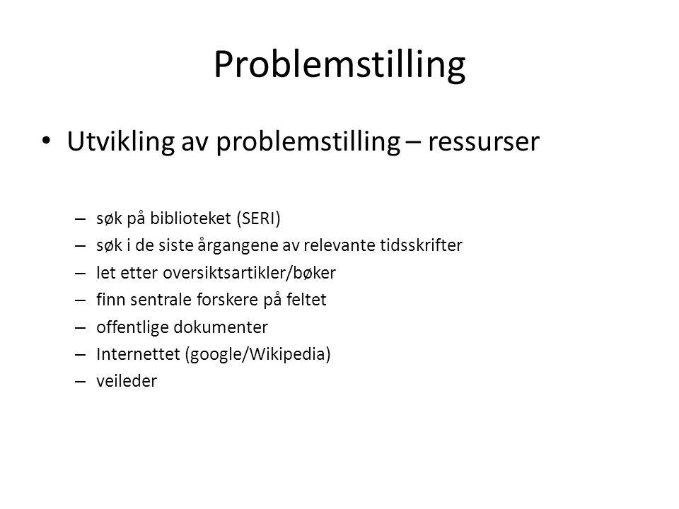 Problemstilling Utvikling av problemstilling – ressurser – søk på biblioteket (SERI) – søk i de siste årgangene av relevante tidsskrifter – let etter