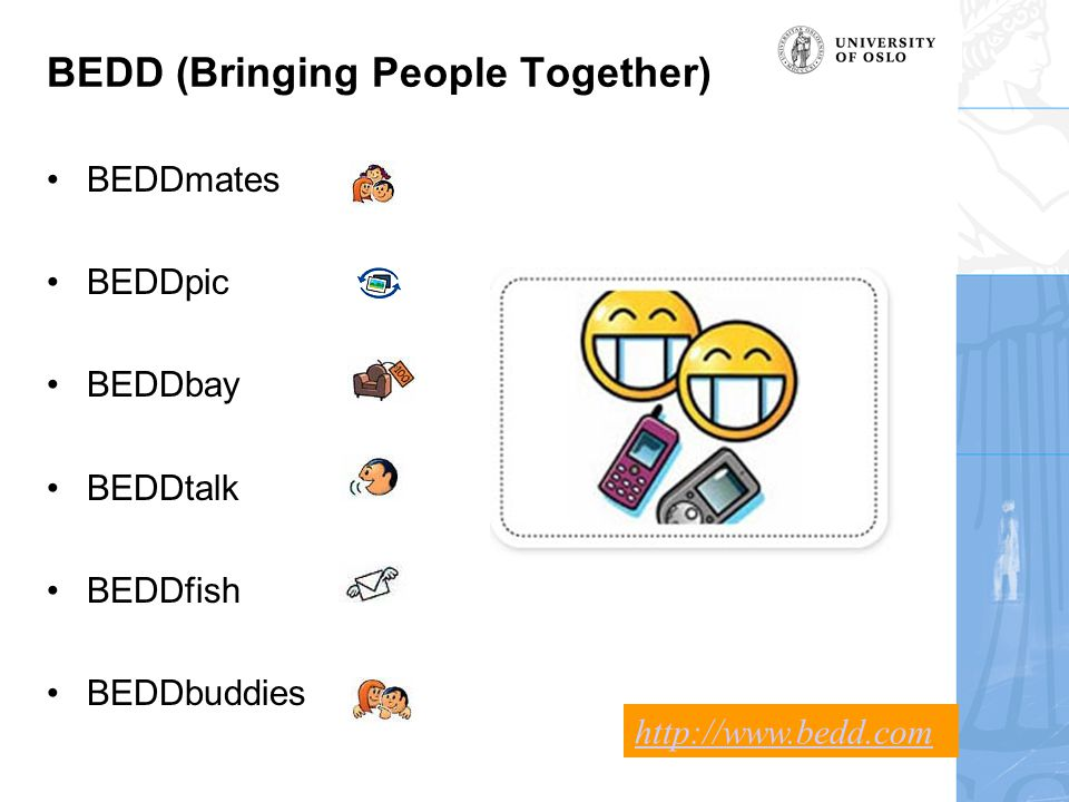 BEDD (Bringing People Together) BEDDmates BEDDpic BEDDbay BEDDtalk BEDDfish BEDDbuddies http://www.bedd.com
