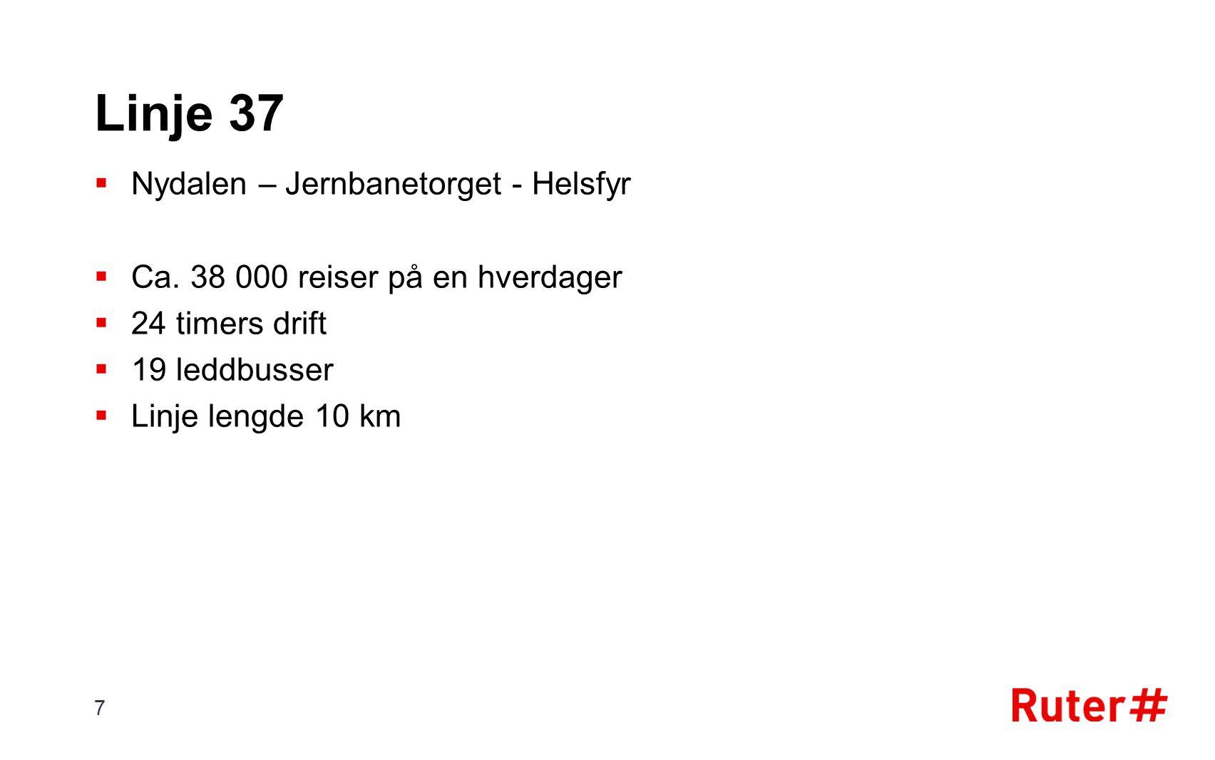 Linje 37  Nydalen – Jernbanetorget - Helsfyr  Ca.