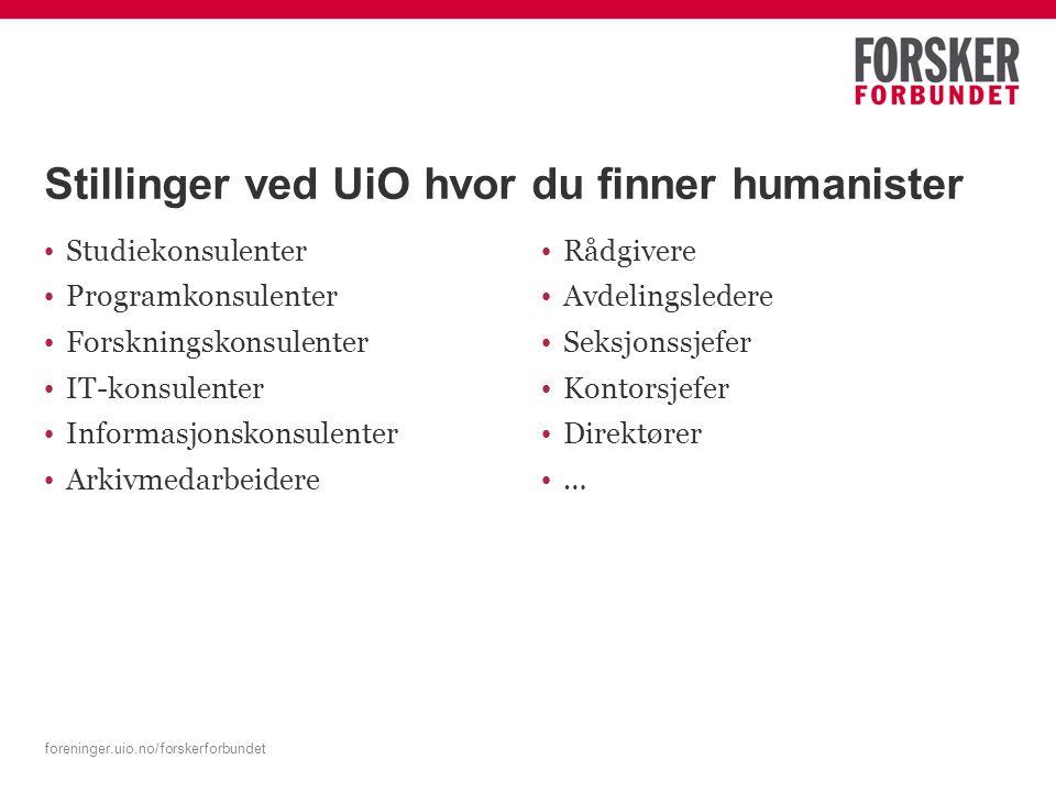 foreninger.uio.no/forskerforbundet Stillinger ved UiO hvor du finner humanister Studiekonsulenter Programkonsulenter Forskningskonsulenter IT-konsulenter Informasjonskonsulenter Arkivmedarbeidere Rådgivere Avdelingsledere Seksjonssjefer Kontorsjefer Direktører …